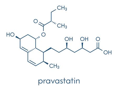 Pravastatin cholesterol lowering drug molecule. Skeletal formula.