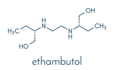 Ethambutol tuberculosis drug molecule. Skeletal formula. Illustration