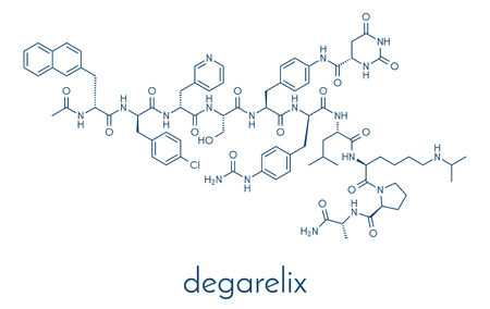 Degarelix prostate cancer drug molecule. Skeletal formula. Illustration