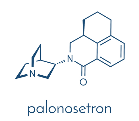 Palonosetron nausea and vomiting drug molecule. 5-HT3 inhibitor used to treat chemotherapy-induced nausea and vomiting (CINV). Skeletal formula.