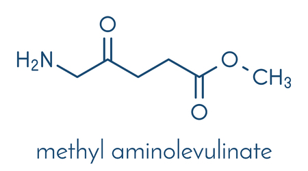 Methyl aminolevulinate non-melanoma skin cancer drug molecule. Used in photodynamic therapy. Skeletal formula. Illustration
