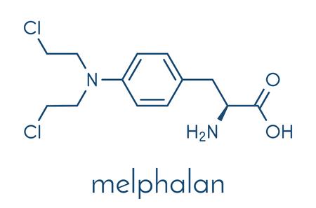 Melphalan cancer chemotherapy drug molecule. Skeletachtige formule.