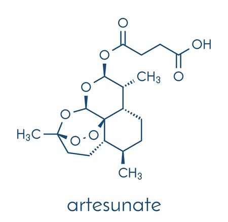 Artesunate malaria drug molecule. Skeletal formula.
