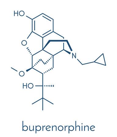 Buprenorphine opioid addiction and pain killer drug molecule. Skeletal formula. Ilustrace