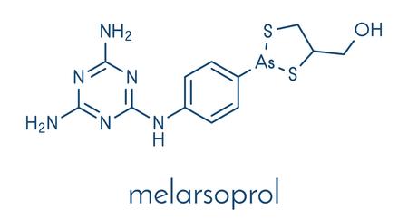 Melarsoprol trypanosomiasis drug molecule. Skeletal formula. Banco de Imagens - 89059076