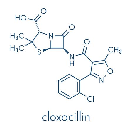 Cloxacillin antibiotic drug molecule. Skeletal formula. Illustration