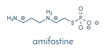 Amifostine cancer drug molecule. Adjuvant drug that protects against cancer chemotherapy side effects. Skeletal formula.