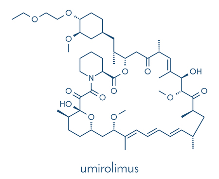 Umirolimus immunosuppressant molecule. Used in drug-eluting coronary stents. Skeletal formula. Illustration