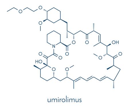 immunosuppressant: Umirolimus immunosuppressant molecule. Used in drug-eluting coronary stents. Skeletal formula. Illustration
