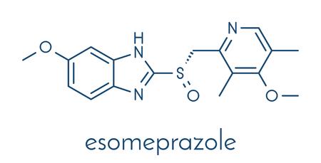 Esomeprazole peptic ulcer drug molecule (proton pump inhibitor). Skeletal formula.