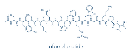 Afamelanotide (melanotan-1) photoprotective drug molecule. Skeletal formula. Stock Vector - 89059165