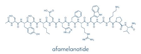 Afamelanotide (melanotan-1) photoprotective drug molecule. Skeletal formula. Illustration