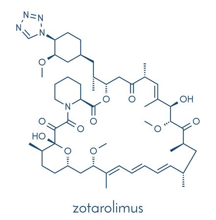 Zotarolimus immunosuppressant molecule. Used in drug-eluting coronary stents. Skeletal formula.