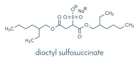 Docusate sodium (dioctyl sodium sulfosuccinate) stool softener drug molecule (laxative). Skeletal formula.