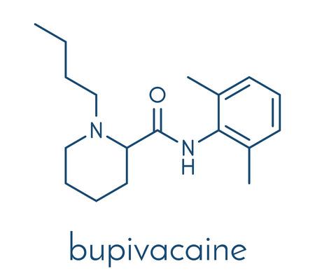 Bupivacaine epidural anesthetic drug molecule (local anesthetic). Skeletal formula. Stock Vector - 89059174