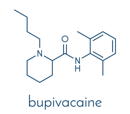 Bupivacaine epidural anesthetic drug molecule (local anesthetic). Skeletal formula. Illustration