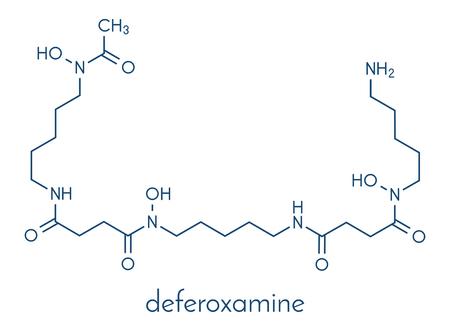 Deferoxamine drug molecule. Used to treat iron poisoning (hemochromatosis). Skeletal formula.