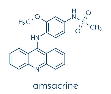 Amsacrine cancer drug molecule (DNA intercalating agent). Skeletal formula.