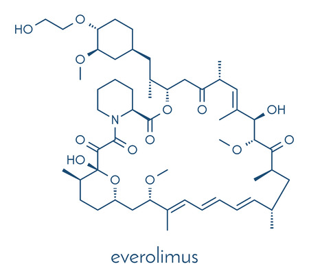 Everolimus immunosuppressant molecule. Used in drug-eluting coronary stents. Skeletal formula.
