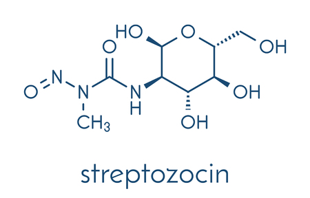 Streptozotocin cancer drug molecule. Used in treatment of metastatic cancer of the pancreatic islet cells. Skeletal formula. Illusztráció