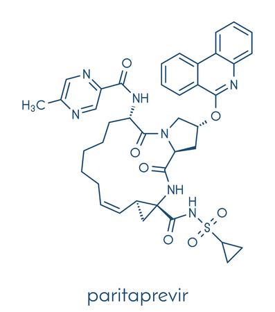 Paritaprevir hepatitis C virus (HCV) drug molecule (NS3-4A serine protease inhibitor). Skeletal formula.