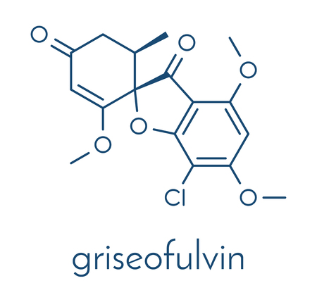 Griseofulvin antimycotic drug molecule. Used to treat fungal infections of the skin and nails. Skeletal formula.