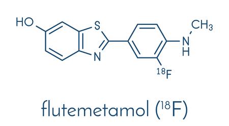 Flutemetamol (18F) PET tracer molecule. Used to diagnose Alzheimers disease. Skeletal formula. Illustration