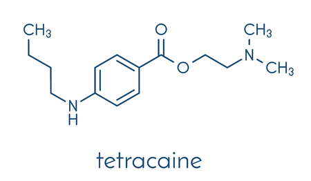 Tetracaine local anesthetic drug molecule. Skeletal formula.