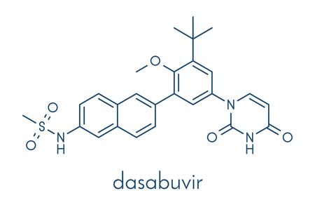 Dasabuvir C 型肝炎ウイルス薬分子。骨格式。