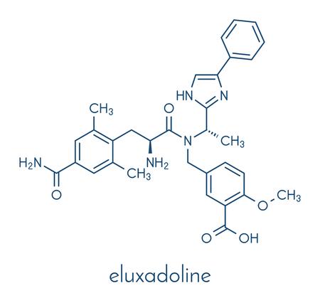 Eluxadoline irritable bowel syndrome (IBS) drug molecule. Skeletal formula. Illustration
