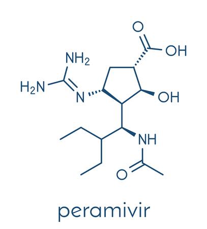 Peramivir influenza drug molecule (neuraminidase inhibitor). Skeletal formula.