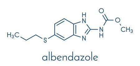 Albendazole anthelmintic drug molecule. Used in treatment of parasitic worm infestations. Skeletal formula. Illustration