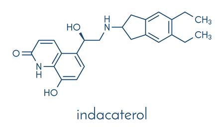Indacaterolo molecola di droga COPD. Formula scheletrica. Archivio Fotografico - 89059351