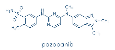 Pazopanib cancer drug molecule (tyrosine kinase inhibitor class). Skeletal formula.