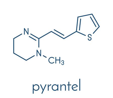 Pyrantel antinematodal drug molecule. Used to threat nematode (roundworm) parasite infections. Skeletal formula. Ilustração