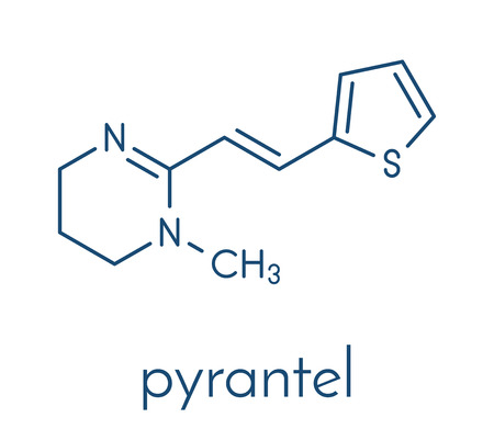 Pyrantel antinematodal drug molecule. Used to threat nematode (roundworm) parasite infections. Skeletal formula. Illustration