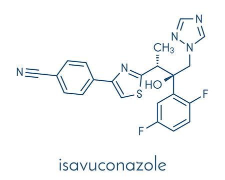 Isavuconazonium 硫酸トリアゾール抗真菌薬。Isavuconazole のプロドラッグ。骨格式。  イラスト・ベクター素材