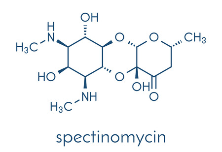 Spectinomycin gonorrhea drug molecule. Antibiotic of the aminocyclitol class. Skeletal formula.