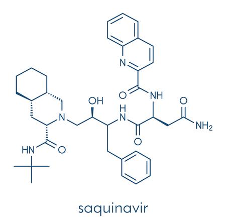 Saquinavir HIV drug molecule. Banco de Imagens - 89975771