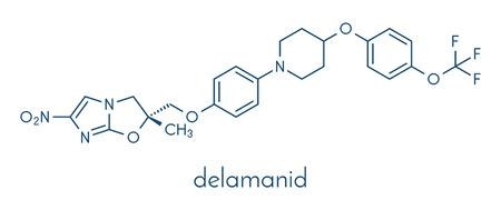 Delamanid tuberculosis drug molecule. Illustration