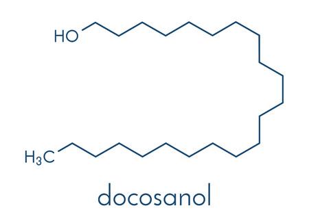 Docosanol (behenyl alcohol) antiviral drug molecule. Ilustracja