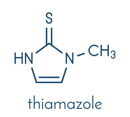 Thiamazole (methimazole) 갑상선 항진증 약물 분자. 일러스트
