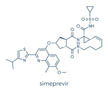 Simeprevir hepatitis C virus (HCV) drug molecule. Skeletal formula.
