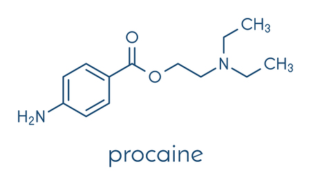 Procaine topical anesthetic drug molecule. Vector Illustration