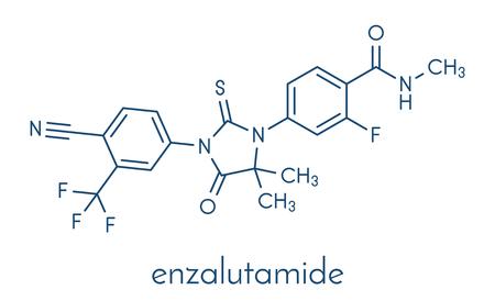 Enzalutamide prostate cancer drug molecule. Ilustração