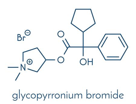 Glycopyrronium bromide (glycopyrrolate) COPD drug molecule.