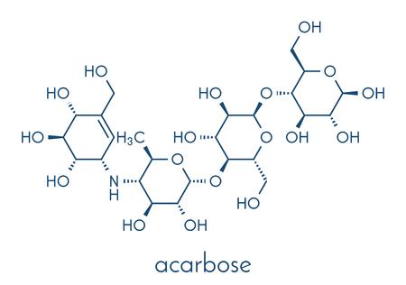 Acarbose diabetes drug molecule. Illustration