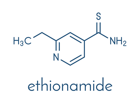 Ethionamide tuberculosis drug molecule. Illustration