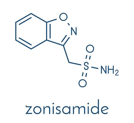 ゾニサミドてんかん薬分子。  イラスト・ベクター素材