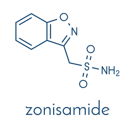 Zonisamide epilepsy drug molecule.